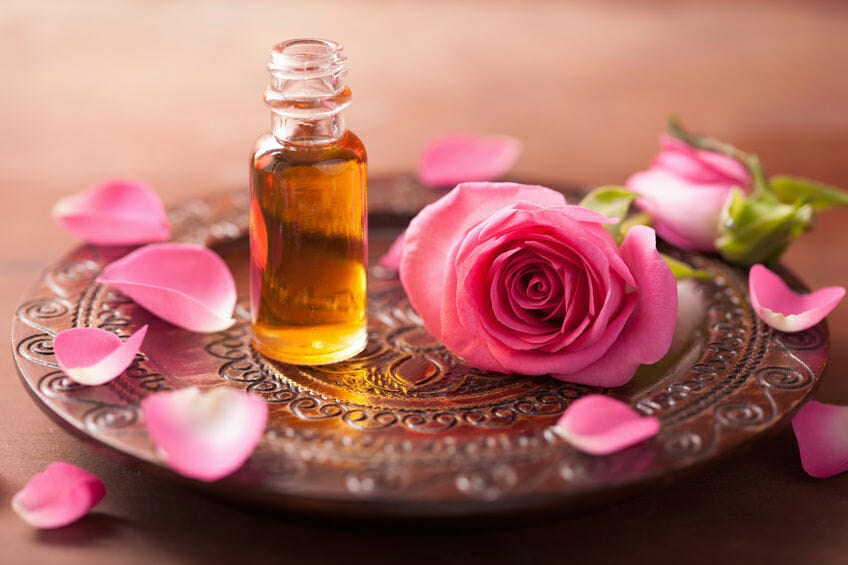 rose flower and essential oil