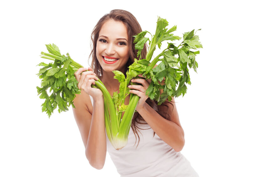 woman with healthy celery