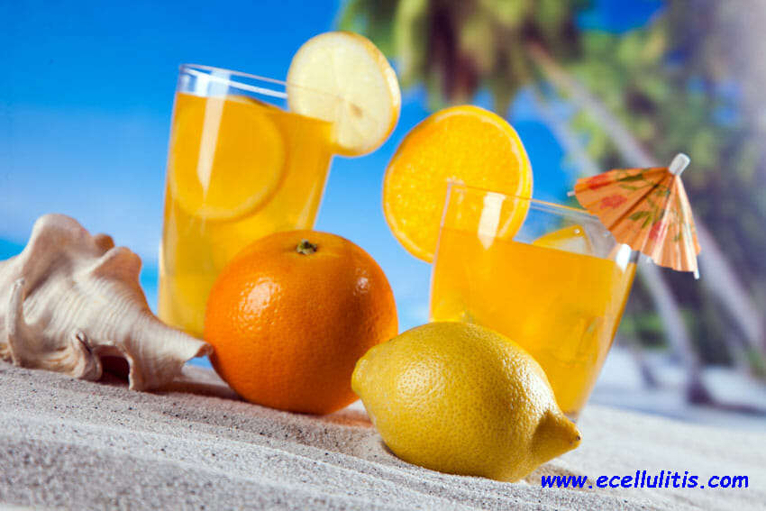 Tropical drinks on beach - sun protective food